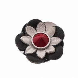 Fendi Set of 2 Multicolor Floral Leather Silver Tone Magnetic Brooches 228176