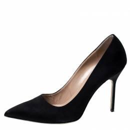 Manolo Blahnik Black Satin BB Pointed Toe Pumps Size 39.5 228157