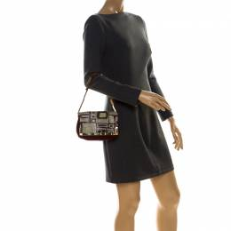 Emilio Pucci Multicolor Suede and Metal Armored Mesh Flap Shoulder Bag 226742