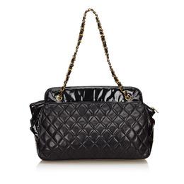 Chanel Black Matelasse Lambskin Leather Chain Shoulder Bag 135520