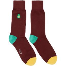 Paul Smith Burgundy Embroidered Avocado Socks 192260M22004201GB