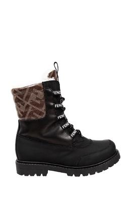 Комбинированные ботинки с отделкой и логотипами Fendi Kids 690154090