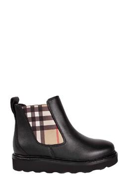 Черные ботинки-челси с фирменной отделкой Burberry Kids 1253154077
