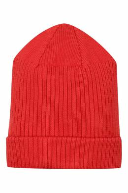 Красная шапка-бини с контрастным логотипом Burberry Kids 1253154004