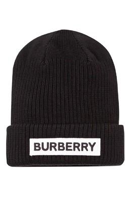 Черная шапка-бини с контрастным логотипом Burberry Kids 1253154003