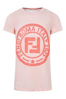 Розовая футболка с круглым логотипом Fendi Kids 690154008