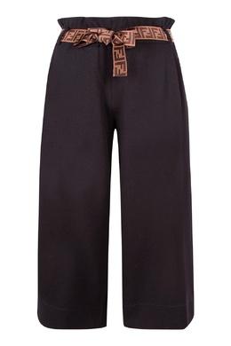 Темно-синие брюки с контрастным поясом Fendi Kids 690154026