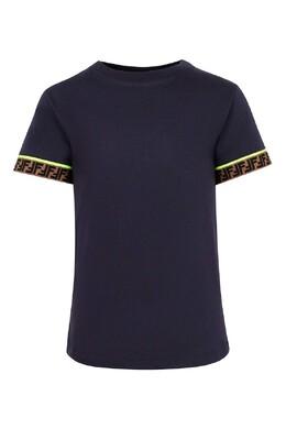 Синяя футболка с отделкой манжет Fendi Kids 690154024