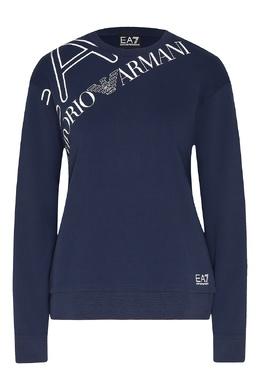 Синий свитшот с контрастным логотипом Ea7 2944154290