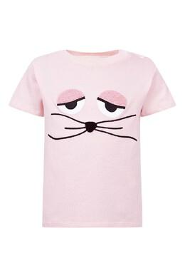 Розовая футболка с отделкой и застежкой Fendi Kids 690154059