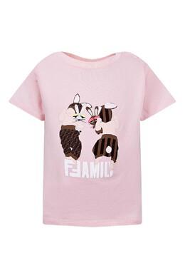 Розовая футболка с принтом и застежкой Fendi Kids 690154058