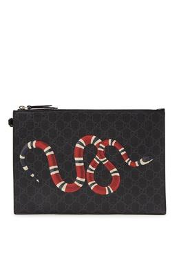 Черный клатч со змеей Gucci Man 2674154696