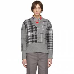Thom Browne Grey Fun-Mix V-Neck Pullover MKA262A-00014