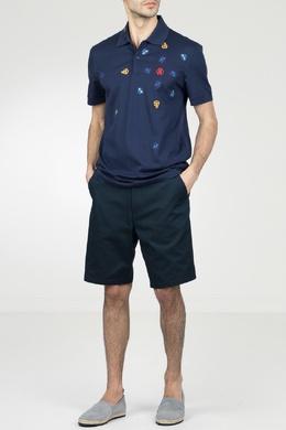 Темно-синее поло с контрастной вышивкой Roberto Cavalli 314155149