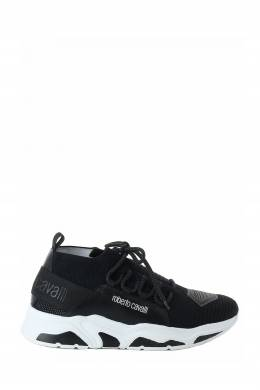 Черные кроссовки из текстиля с отделкой Roberto Cavalli 314155160