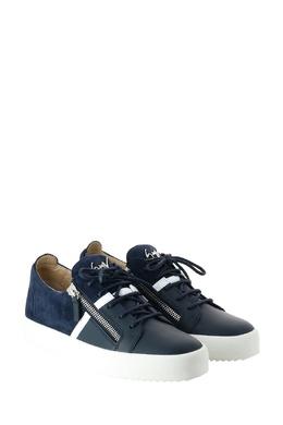 Синие комбинированные кеды с отделкой Giuseppe Zanotti Design 2096155125