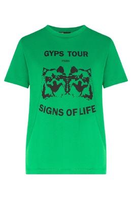 Зеленая футболка с надписями и рисунками Maje 888153553