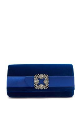 Синий бархатный клатч с пряжкой Gothisi Manolo Blahnik 166153650