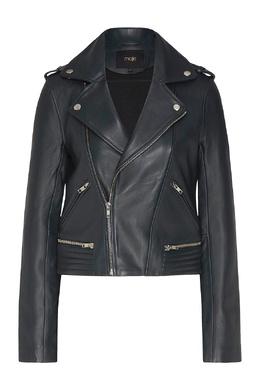 Темно-зеленая байкерская куртка из кожи Maje 888153564