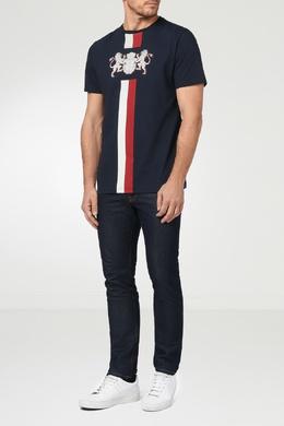 Темно-синяя футболка с красно-белыми полосами Billionaire 1668154839