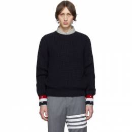 Thom Browne Navy Merino Wool Funmix Stitch Chunky Sweater MKA252A-00014