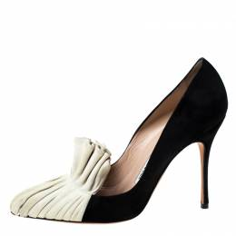 Manolo Blahnik Black and Beige Suede Arleti Frill Detail Pumps Size 37