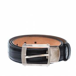 Montblanc Black Crocodile Embossed Leather Buckle Belt 110CM 229197
