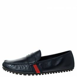 Gucci Blue Leather Web Penny Loafers Size 43 229445