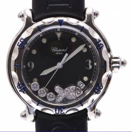 Chopard Black Diamond Stainless Steel and Rubber Happy Fish 28/8347-8 Women's Watch 37MM