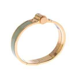 Hermes Charniere Uni Green Enamel Rose Gold Plated Bracelet GM