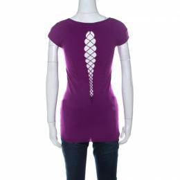 Versace Collection Purple Stretch Jersey Bodycon Top L 229238