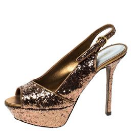 Sergio Rossi Metallic Gold Platform Slingback Peep Toe Sandals Size 36 230013
