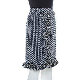 Marni Blue and White Polka Dot Printed Coated Silk Ruffle Detail Skirt S 228406
