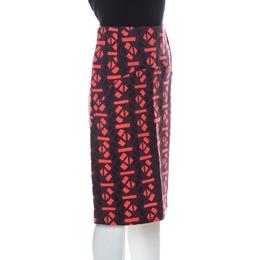 Marni Red Geometric Print Wool Pencil Midi Skirt M 228365