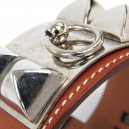 Hermes Collier De Chien Brown Leather Palladium Cuff Bracelet 228567