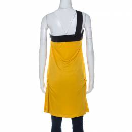 Gucci Yellow Jersey One Shoulder Bow Detail Tunic Top M 226707