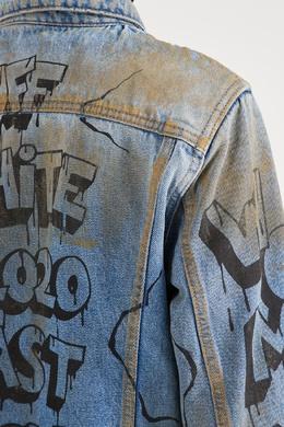 Джинсовая куртка с грязным эффектом и надписями Off-White 2202155146