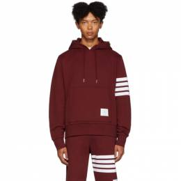 Thom Browne Red Engineered 4-Bar Pullover Hoodie MJT135A-00535