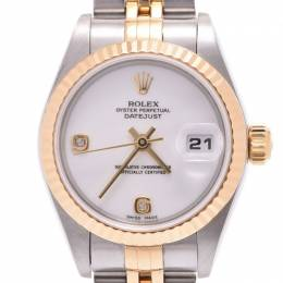 Rolex White 18K Yellow Gold Stainless Steel and Diamond Datejust 79173 Women's Wristwatch 25MM 228224