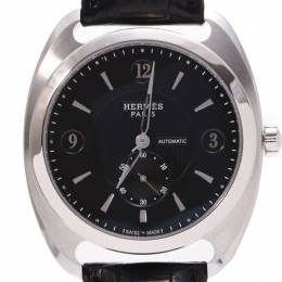 Hermes Black Stainless Steel and Leather Dressage Automatic DR5.71B Men's Wristwatch 39MM 227967