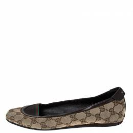 Gucci Beige/Brown GG Canvas and Leather Web Ballet Flats Size 39 230254
