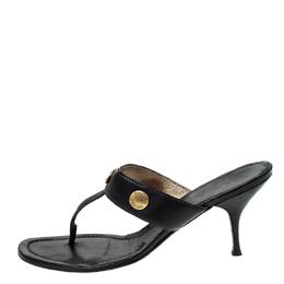 Prada Black Leather Studded Thong Sandals Size 38