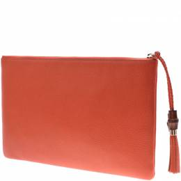 Gucci Orange Leather Clutch Bag 229959