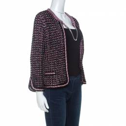 Chanel Black & Pink Tweed Neck Chain Detail Jacket L 230019