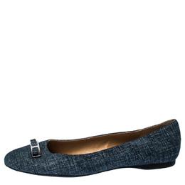 Salvatore Ferragamo Blue Denim Bow Ballet Flats Size 39
