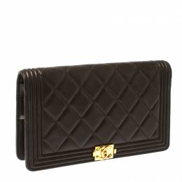 Chanel Dark Grey Quilted Leather Boy Flap Long Wallet 230289