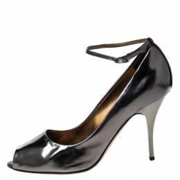 Giuseppe Zanotti Design Metallic Grey Leather Peep Top Ankle Strap Pumps Size 39 229792