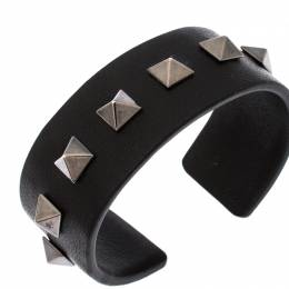 Valentino Rockstud Black Leather Open Cuff Bracelet 230059