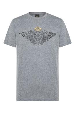 Серая футболка с черно-золотым гербом Billionaire 1668155411