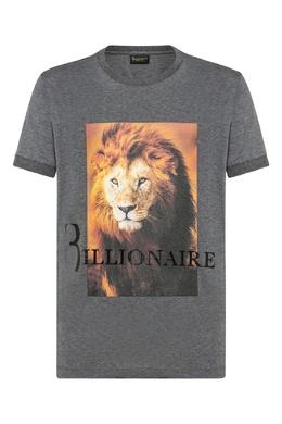 Серая футболка с принтом и трикотажной отделкой Billionaire 1668155416